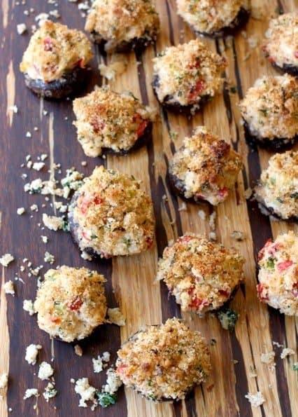 Crispy Crab Stuffed Mushrooms are a stuffed mushroom recipe with a breadcrumb topping