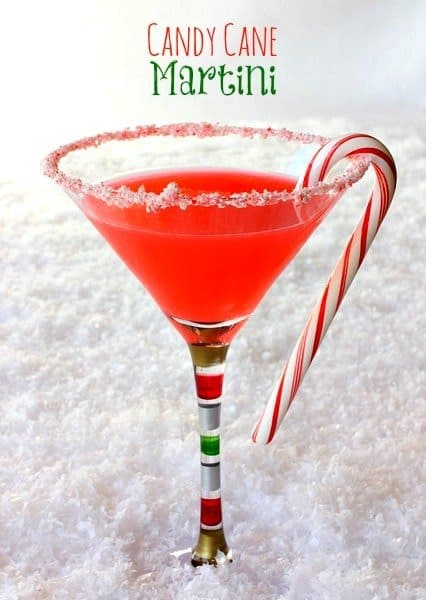 This Candy Cane Martini uses infused candy cane vodka