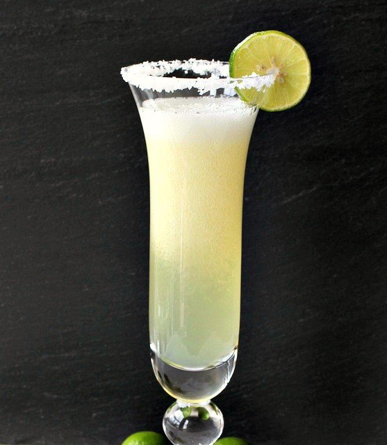 Champagne Margaritas with salt rim