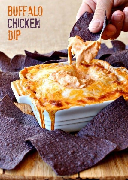 Buffalo Chicken Dip is an easy appetizer recipe with chicken, cream cheese and hot sauce