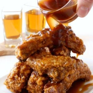 fried ribs with whiskey glaze