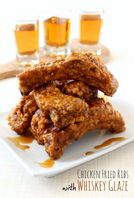 Chicken Fried Ribs with Whiskey Glaze are a fried rib recipe with a sweet and spicy glaze