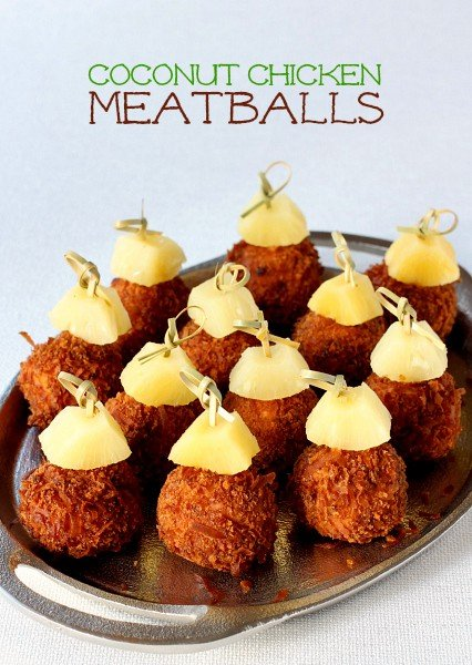 Coconut Chicken Meatballs on a platter for serving