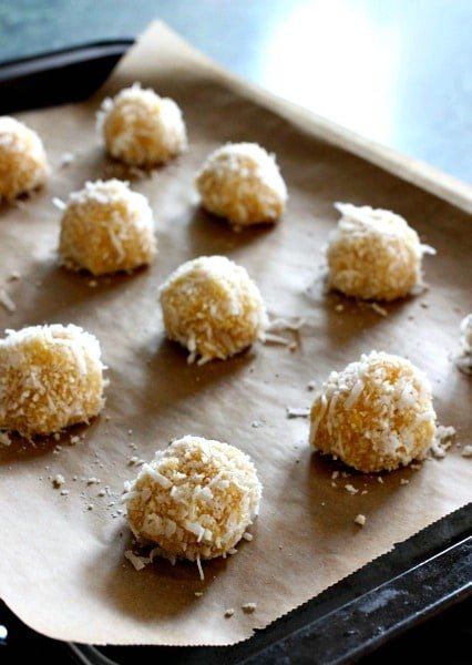 Coconut Chicken Meatballs on baking sheet