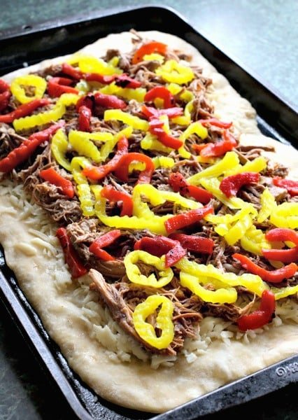 Italian Beef Pizza with beef and peppers