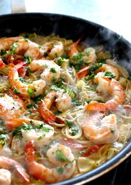 shrimp and pasta skillet