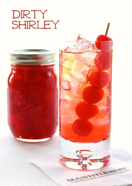 Dirty Shirley Cocktail featured with cherries