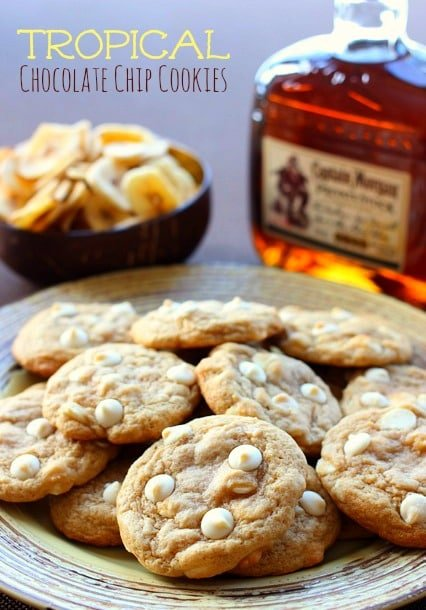 Tropical Chocolate Chip Cookies with rum