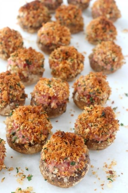 corned beef stuffed mushrooms on board