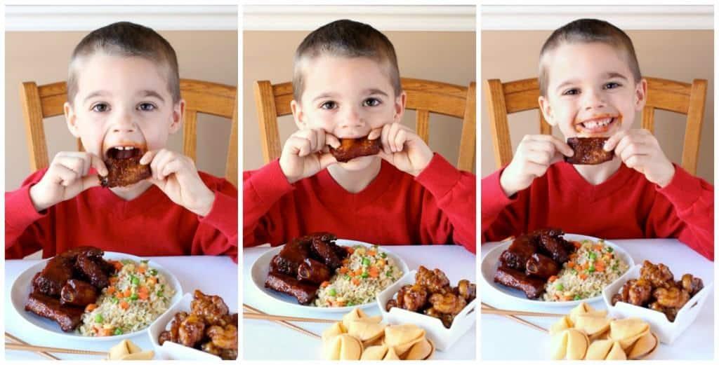 evan eating ribs