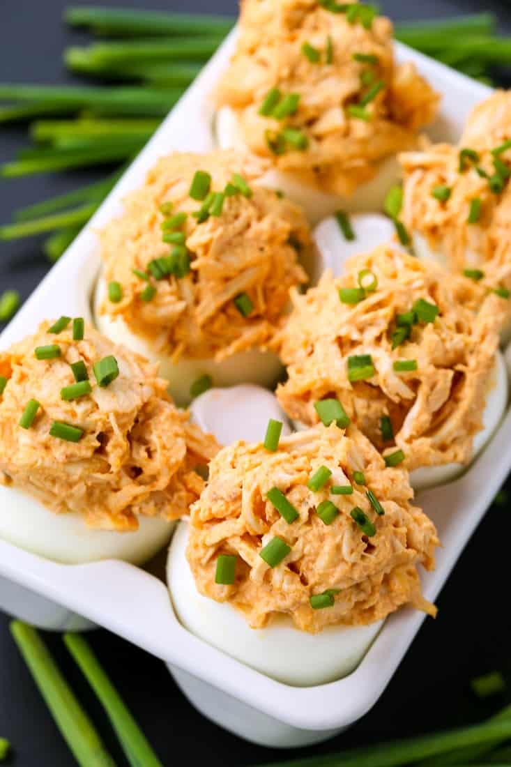 Buffalo Chicken Stuffed Eggs are hard boiled eggs filled with shredded buffalo chicken