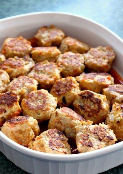 Chicken Enchilada Meatballs before baking