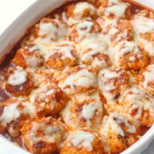 Chicken Enchilada meatballs with mozzarella cheese