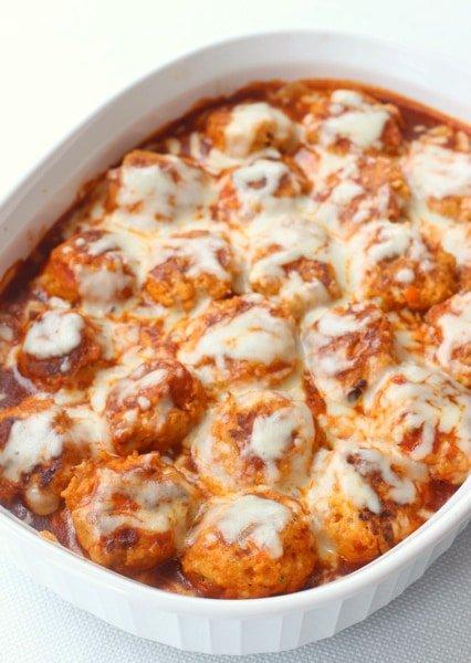 Chicken Enchilada Meatballs in dish