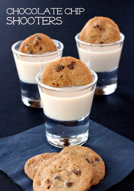 Chocolate Chip Shooters are a dessert shot recipe made with chocolate vodka