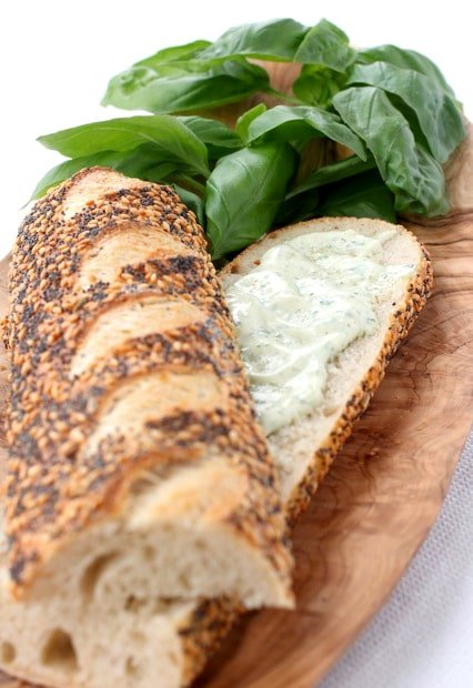 Garlic Basil Mayonnaise on bread