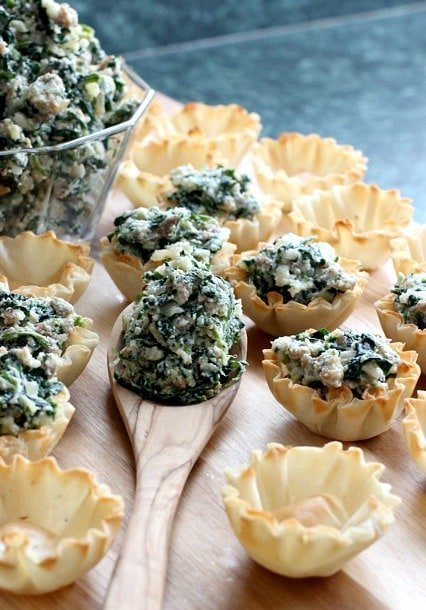 Spinach and Sausage Phyllo Cups process