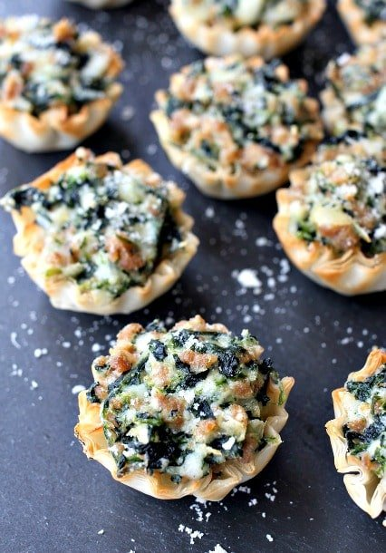 Spinach and Sausage Phyllo Cups on slate