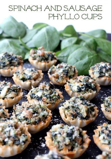 Spinach and Sausage Phyllo Cups hero shot
