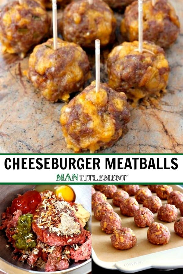 cheeseburger meatballs collage for pinterest