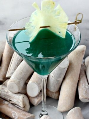 Seven Seas Martini is a martini recipe made with blue curacao