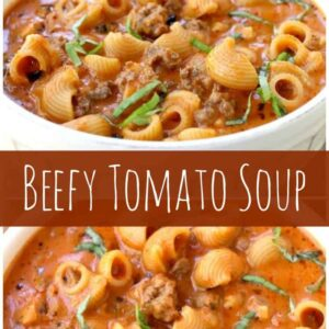 Beefy Tomato Soup long pin with text for Pinterest