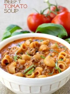 Beefy Tomato Soup is a total comfort dinner, full of pasta and beef in a creamy tomato broth!