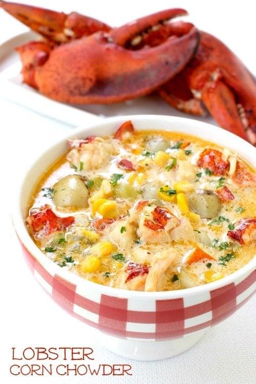 Lobster Corn Chowder in bowl