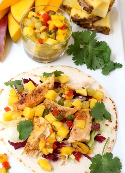 Tropical Chicken Tacos on board