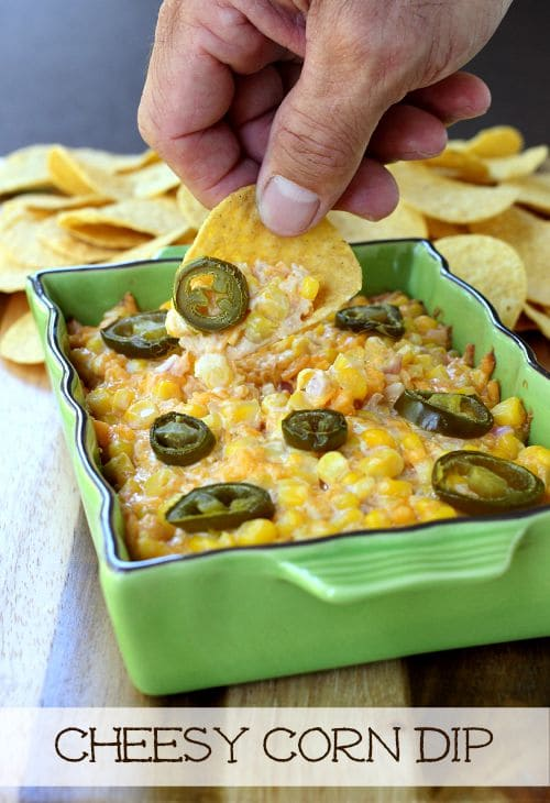 Cheesy Corn Dip dip with chip