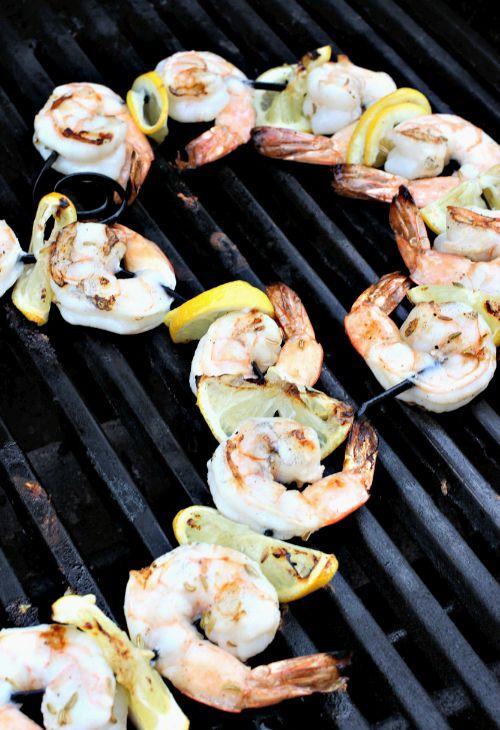 Pesto Shrimp Kabobs on the grill