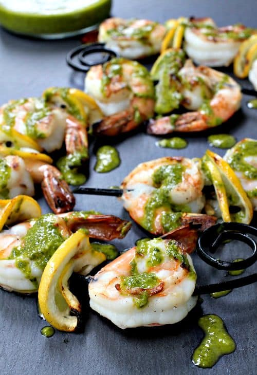 Pesto Shrimp Kabobs with lemons