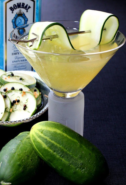 Cucumber Gin Martini with gin bottle