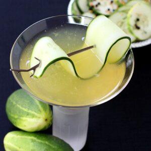 Cucumber Gin Martini with garnish