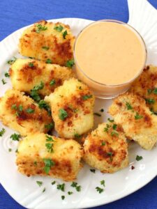 Plate with homemade fish nuggets that are better than fish sticks