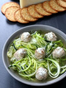 Italian Meatball Soup with zoodles