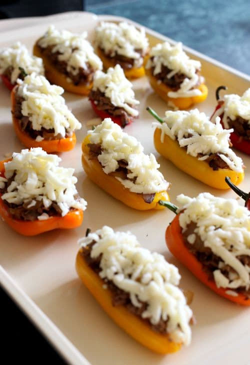 Philly Cheesesteak Stuffed Peppers process