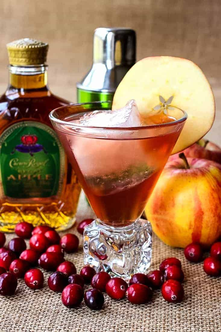 Crown Apple Cocktail with crown royal apple bottle and garnish