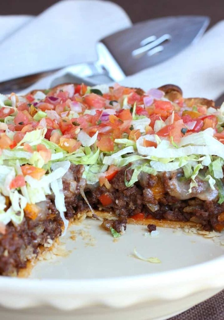 This Loaded Taco Pie is an easy taco pie recipe made with a frozen pie crust