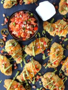 Nacho Chicken Wings are baked wings coated in a tortilla crust