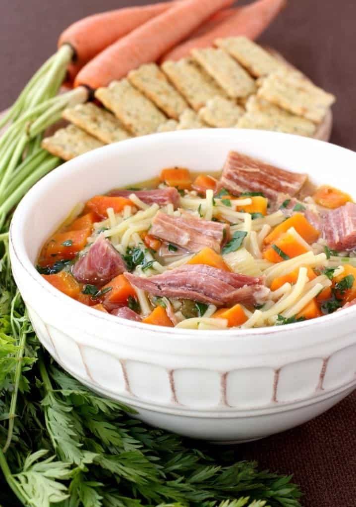 Slow Cooker Ham and Noodle Soup is a soup recipe that uses leftover ham and pasta