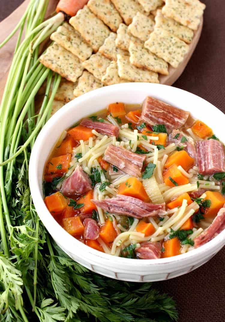 Slow Cooker Ham and Noodle Soup is such a comforting meal!