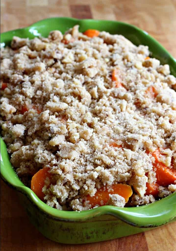 Carrots topped with streusel before baking