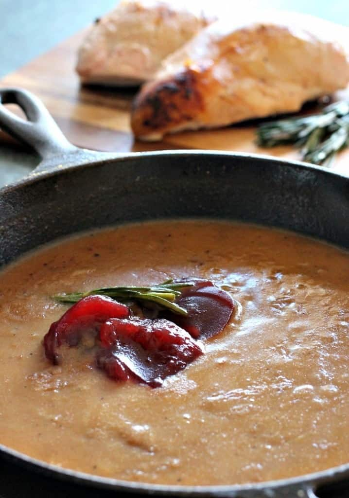 cranberry whiskey gravy in a skillet