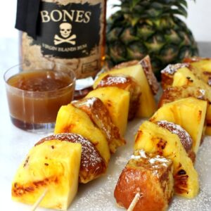 French Toast Kabobs with Butter Rum Syrup