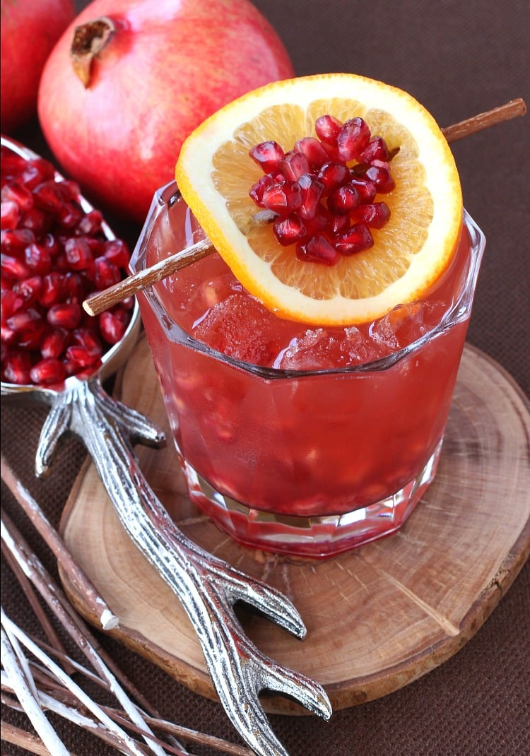 Pomegranate old fashioned with garnish