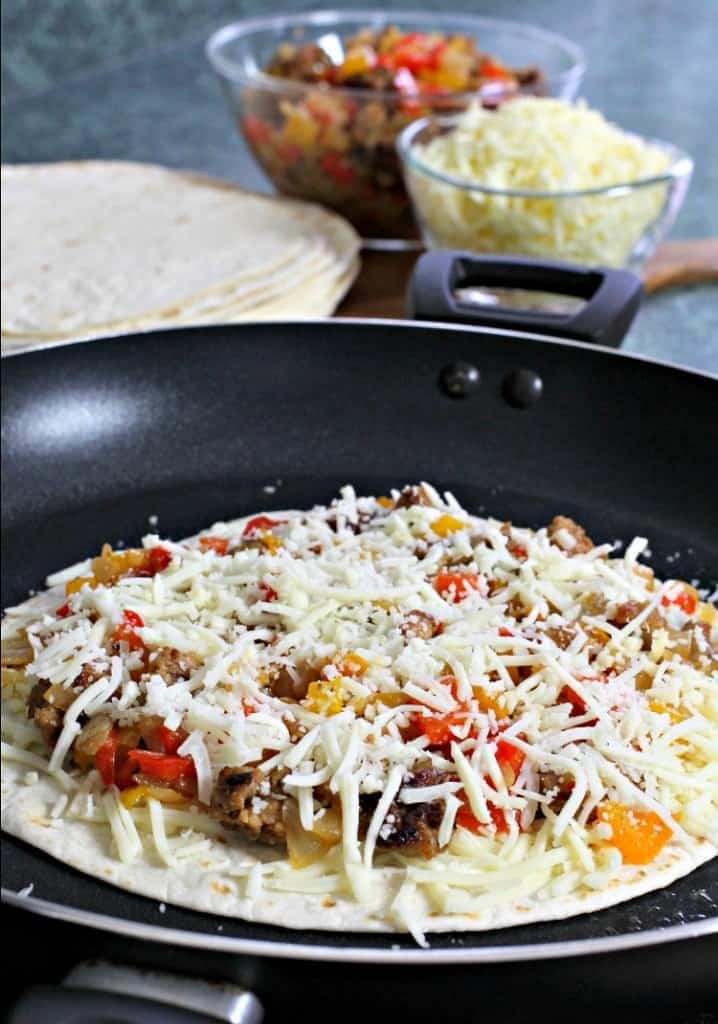 sausage-pepper-quesadilla-build