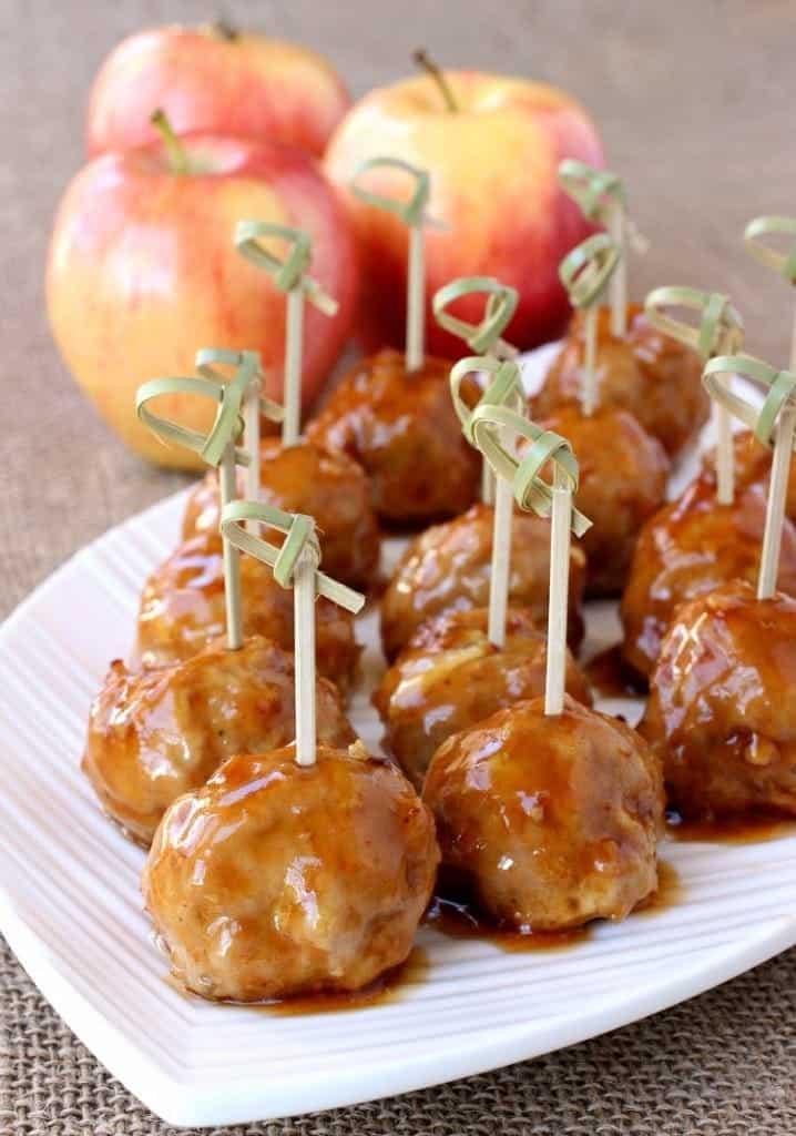 Turkey Apple Meatballs with Whiskey Glaze