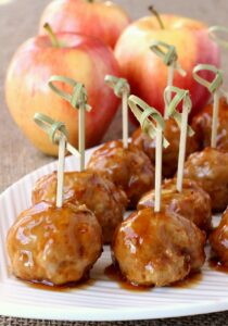 Turkey Apple Meatballs with Whiskey Glaze