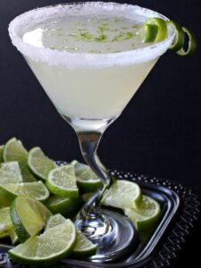 Lime Drop Martini recipe with black background